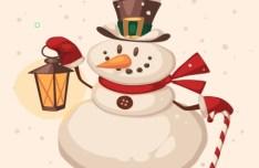 Vintage Cartoon Christmas Snowman Illustration Vector