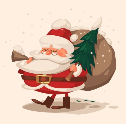 Vintage Cartoon Santa Claus Illustration Vector