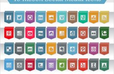 40 Ribbon Style Social Media Icons