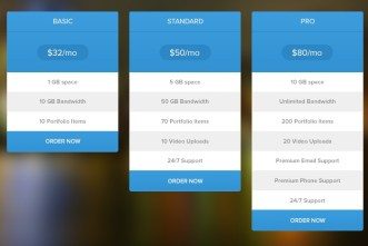 Blue Flat Pricing Table PSD