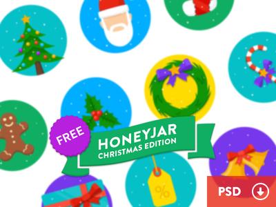10 Round Flat Christmas Icons PSD