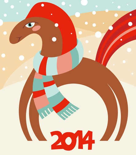 Happy New Year 2014 Horse Design Vector 01