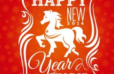 Happy New Year 2014 Horse Design Vector 02