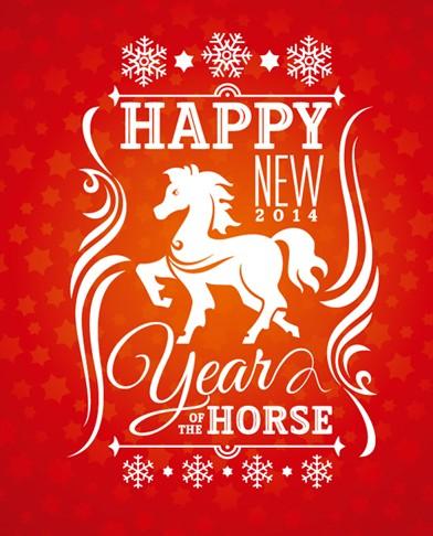 Happy New Year 2014 Horse Design Vector 02