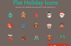 Set Of Flat Holiday Icons Vector