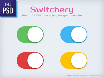 iOS 7 Style Switches PSD