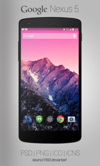 Black Google Nexus 5 Mockup PSD