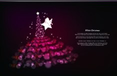3 Fantastic Purple Christmas Tree Backgrounds Vector