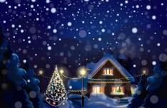 Snowy Christmas Eve Vector