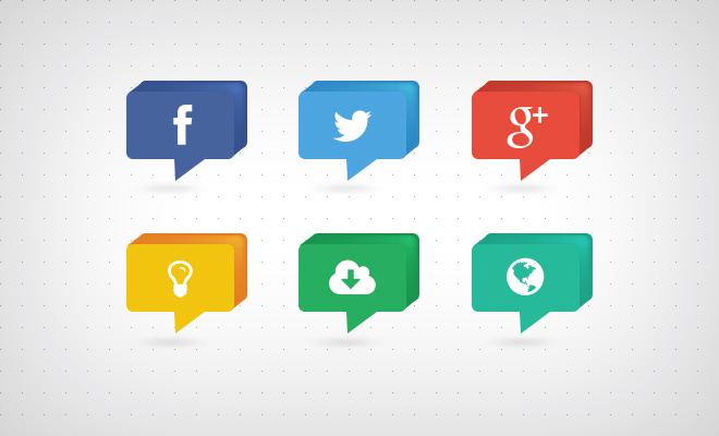 3D Speech Bubble Style Social Media Icons PSD