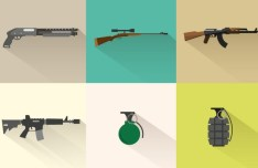 Flat Long Shadow Weapons Icon Set Vector