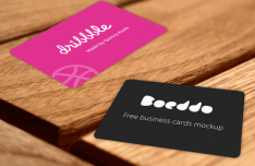 Red and Dark Business Card Mockups PSD