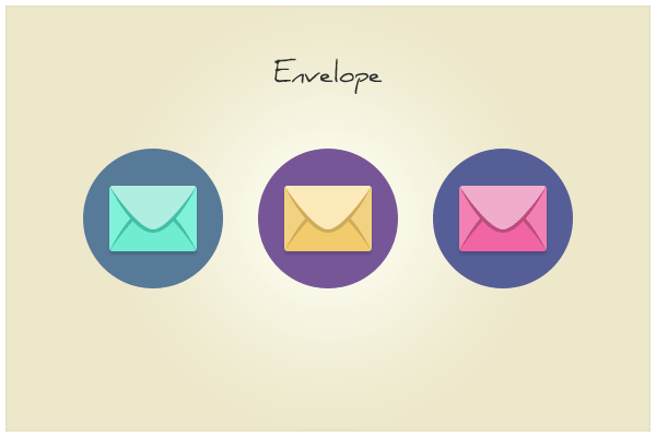 Round Flat Envelope Email Icons PSD