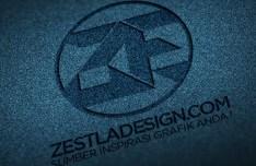 Logo Mockup with Denim Texture PSD