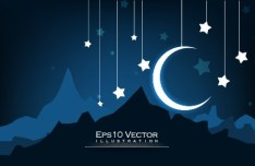 Night Moon and Stars Illustration Vector 05