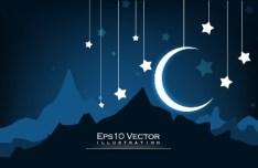Night Moon and Stars Illustration Vector 05