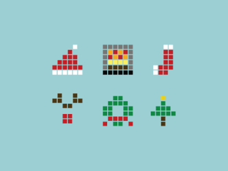 Pixel Christmas Icons Vector