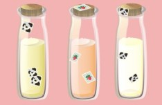 Cute Feeding Bottles Vector