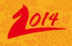 New Year 2014 Text Style Vector