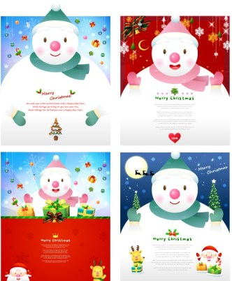 Set Of Cute Snowman Backgrounds For Christmas Vector