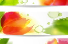 Set Of Vector Colorful Watercolor Flower Banners