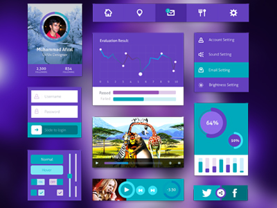 Purple and Green UI Kit PSD
