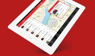 Around Me iPad with iOS 7 App Design Template PSD