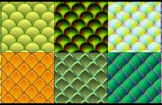 Set Of Fish and Serpent Scale Vector Patterns 02