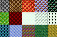 Set Of Fish and Serpent Scale Vector Patterns 01