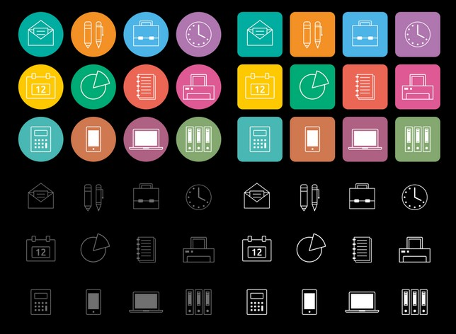 12 Flat Office Line Icons Vector