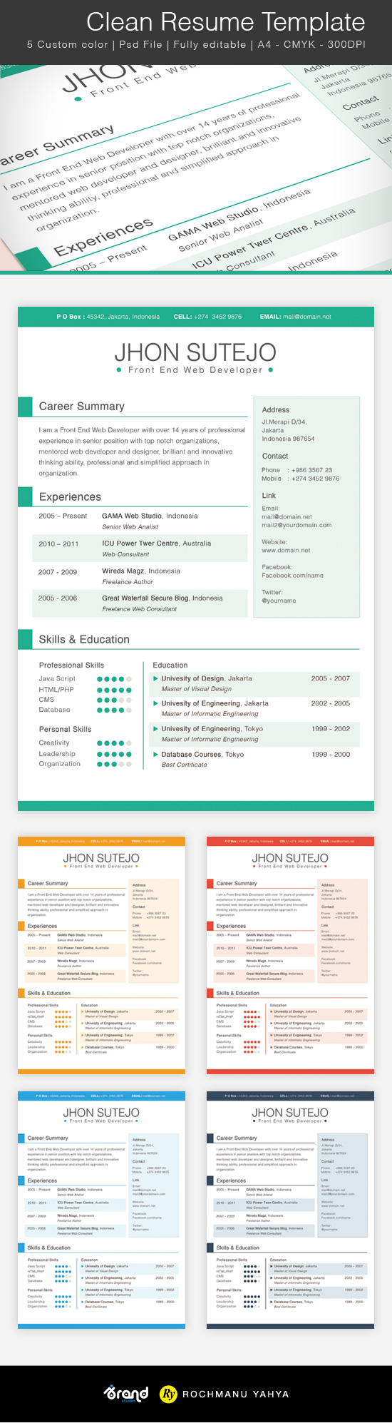 free clean one page resume template psd titanui