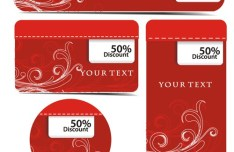 Set Of Red Floral Discount Labels Vector