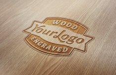 Wood Letterpress Logo Mockup PSD