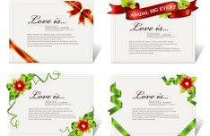 Set Of Elegant Card Templates with Corner Ribbons Vector