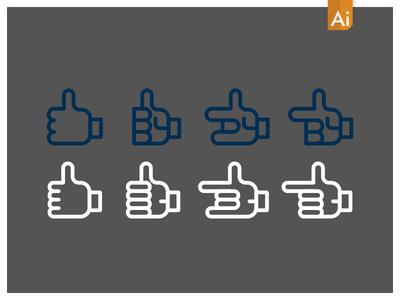 Set Of Vector Single Hand Gestures