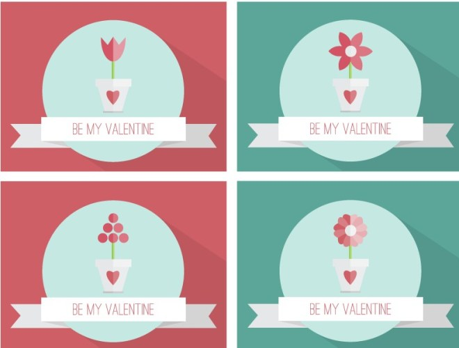 Set Of Flat Valentine Cards Vector