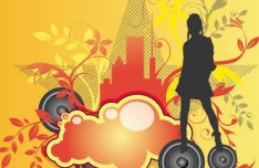 Dancing Girl Silhouette with Floral Background Vector 04