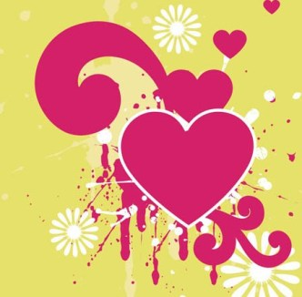 Red Love Hear with Splash Flower Background Vector 02