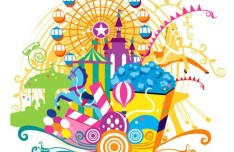 Vector Illustration Of Playground and Carnival Elements