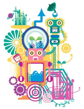 Vector Illustration Of Robot and HI-Tech Elements