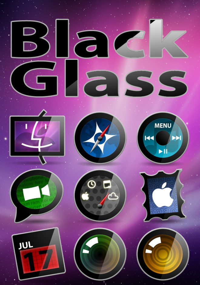 Black Glass Icon Set