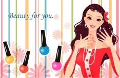 Fashion Girl Beautiful Makeup Vector Illustration