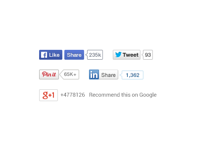 Social Share Buttons with Counters PSD