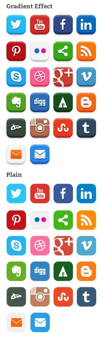 20 Popular Social Media Icons PSD