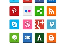 20 Simple Flat Social Media Icons PSD