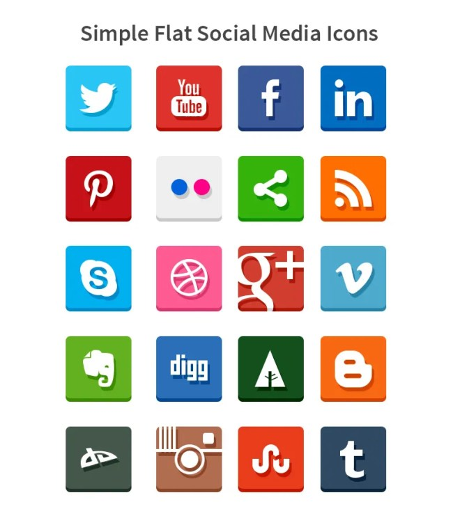 20 Simple Flat Social Media Icons PSD