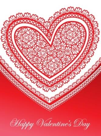 Red Love Heart Paper-cut Art Vector