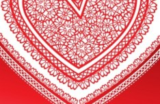 Red Love Heart Paper-cut Art Vector