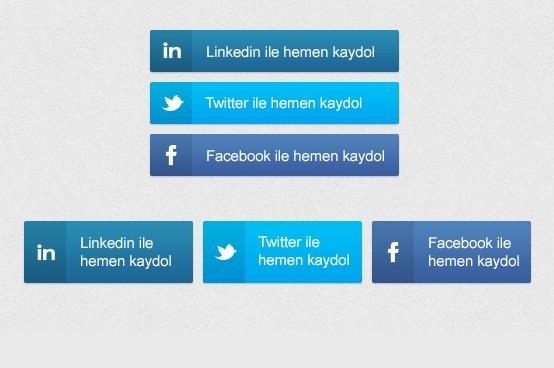 Flat Social Media Buttons PSD
