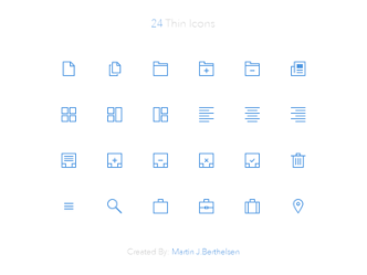 24 Thin Line Icons PSD (32x32px)